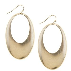 Jewelry - 🆓🎁 Brushed Gold/Silver Oval Cutout Earrings